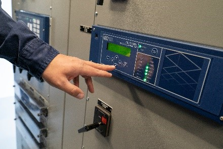 A travelling wave relay installed in a substation
