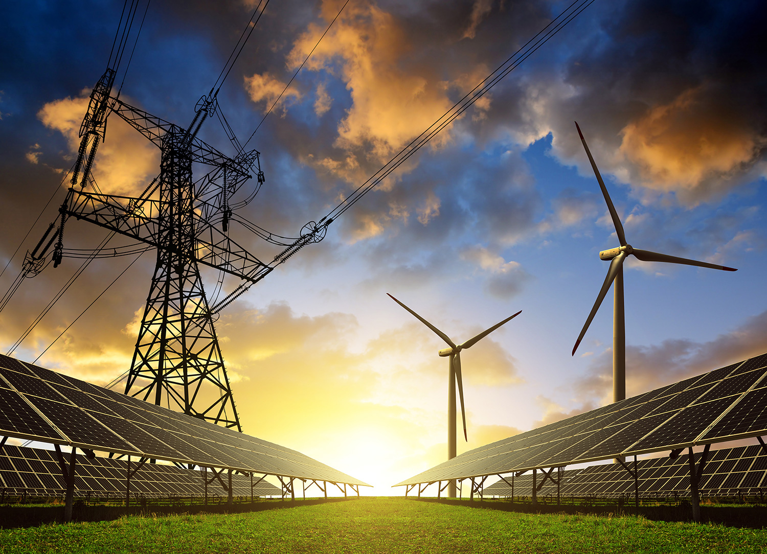 Solar panels, wind turbines, and transmission lines